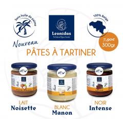 PÂTE À TARTINER LEONIDAS NOIR, NOISETTE LAIT, MANON